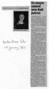 Northern Rivers Echo News about Jenny Dowell being our new patron
